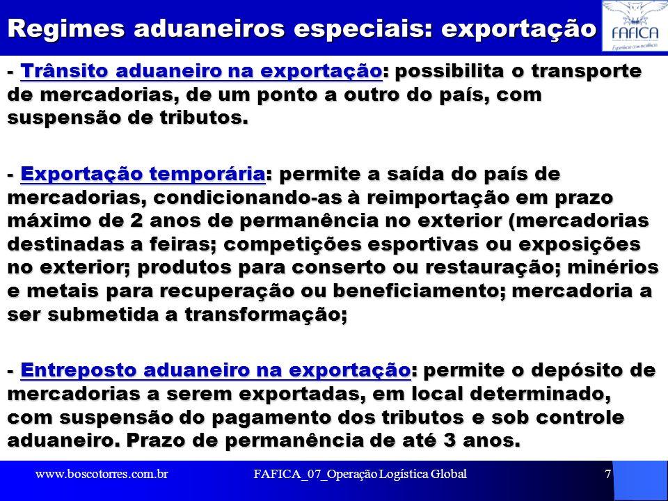 Regimes aduaneiros especiais: exportação