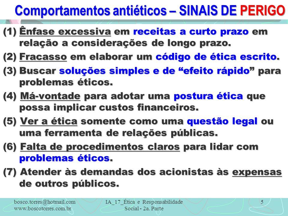 Comportamentos antiéticos – SINAIS DE PERIGO