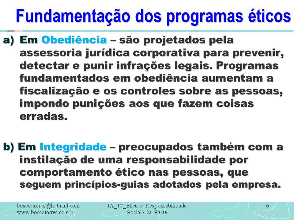 Fundamentação dos programas éticos