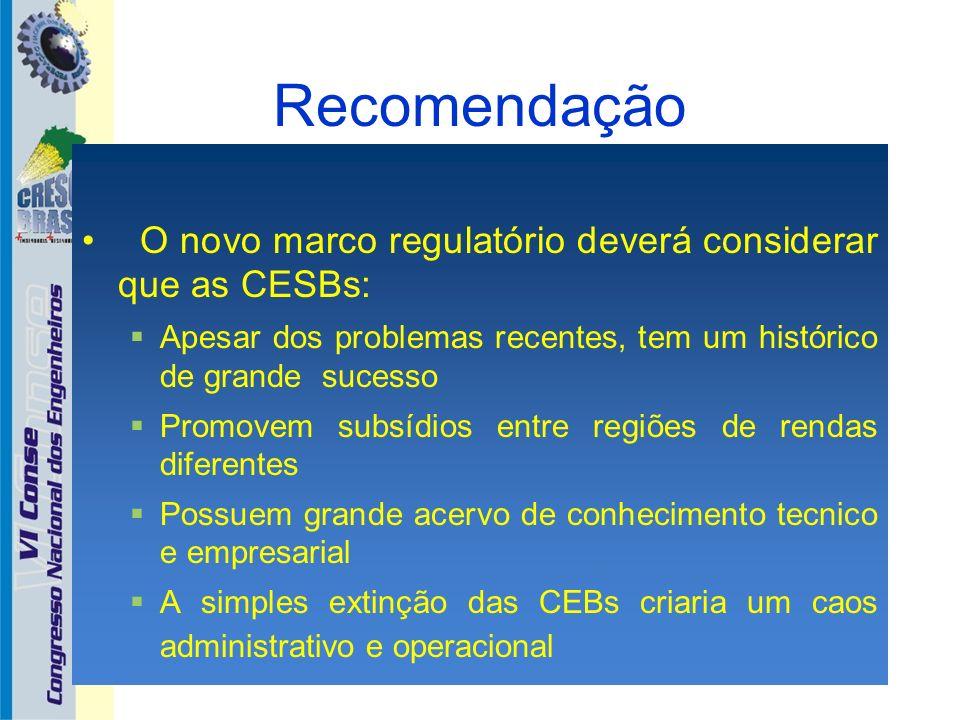 Recomendação O novo marco regulatório deverá considerar que as CESBs: