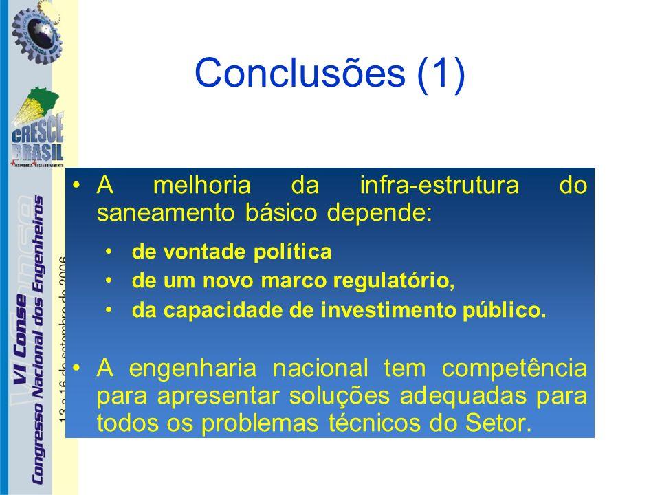 Conclusões (1) A melhoria da infra-estrutura do saneamento básico depende: de vontade política. de um novo marco regulatório,