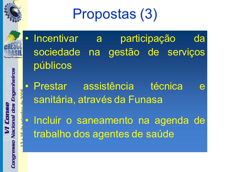 Propostas (3)Incentivar a participação da sociedade na gestão de serviços públicos. Prestar assistência técnica e sanitária, através da Funasa.