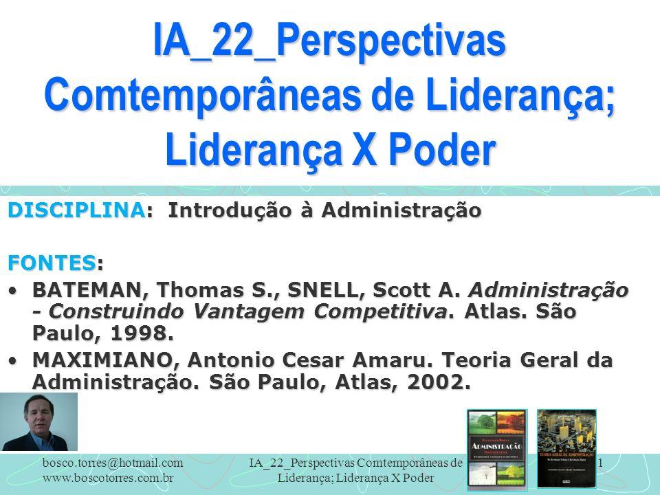 IA_22_Perspectivas Comtemporâneas de Liderança; Liderança X Poder