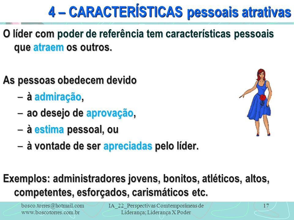 4 – CARACTERÍSTICAS pessoais atrativas