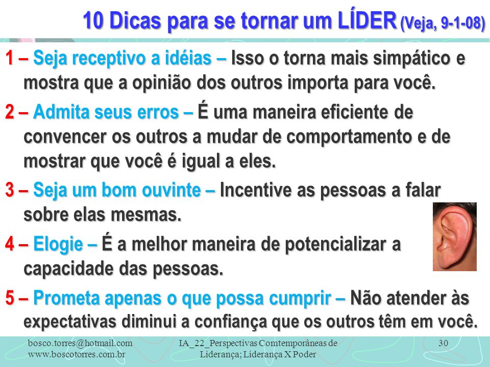 10 Dicas para se tornar um LÍDER (Veja, 9-1-08)