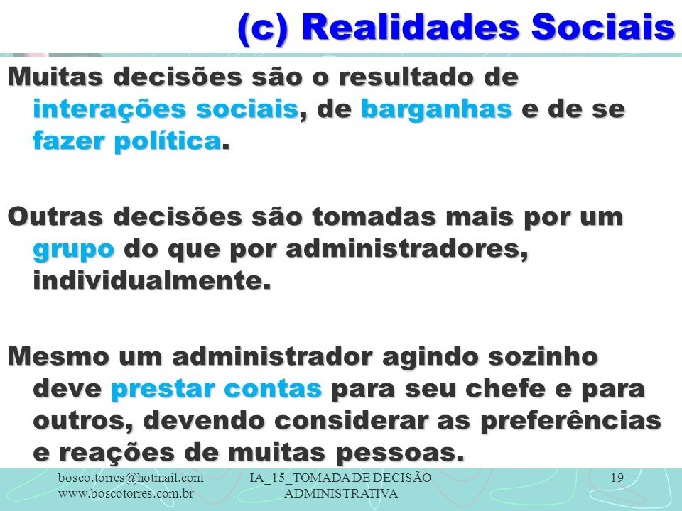 (c) Realidades Sociais