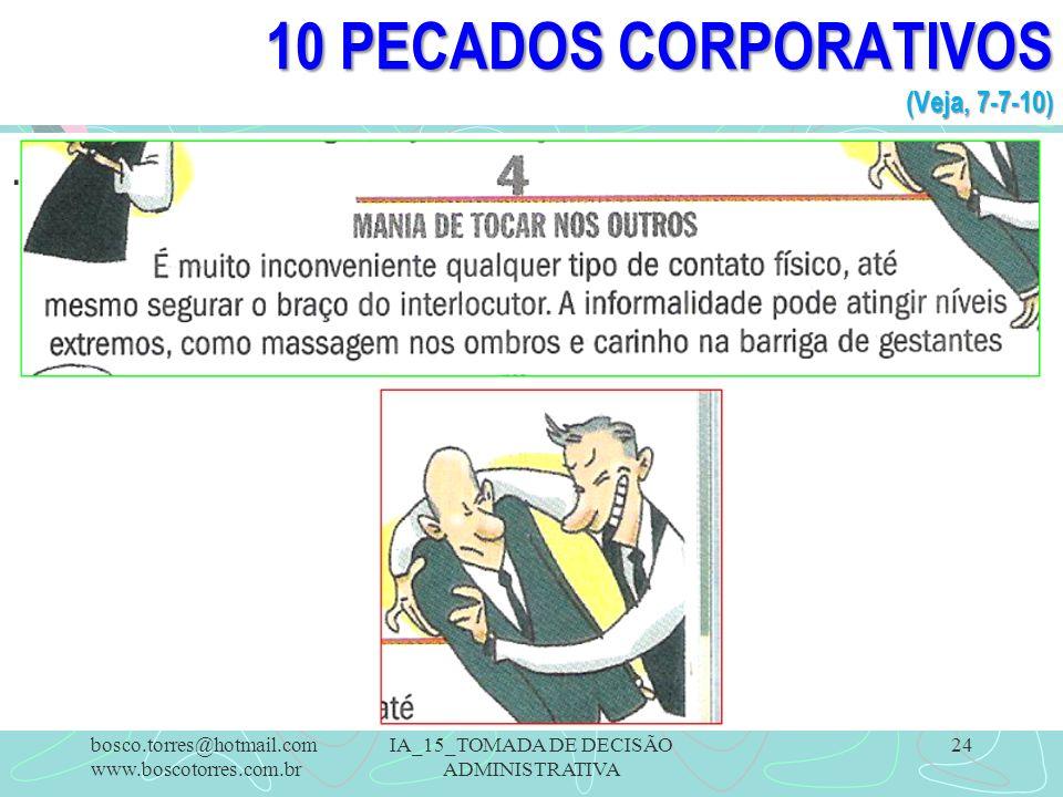 10 PECADOS CORPORATIVOS (Veja, 7-7-10)