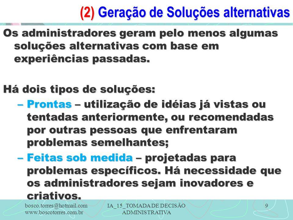 (2) Geração de Soluções alternativas