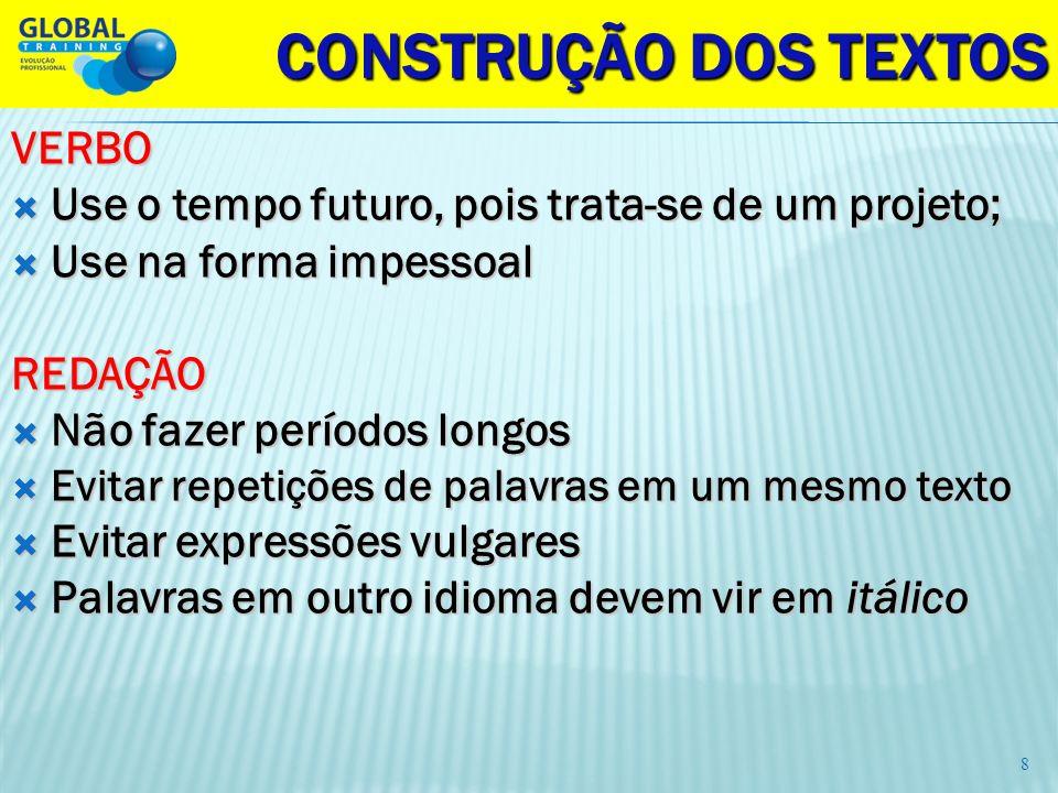 CONSTRUÇÃO DOS TEXTOS VERBO