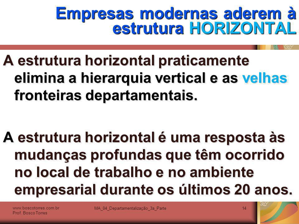 Empresas modernas aderem à estrutura HORIZONTAL