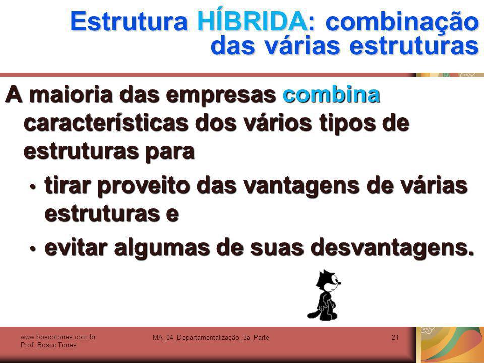 Estrutura HÍBRIDA: combinação das várias estruturas