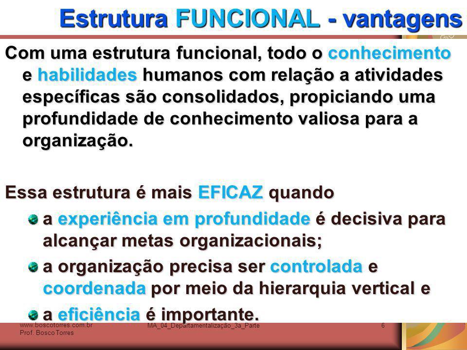 Estrutura FUNCIONAL - vantagens