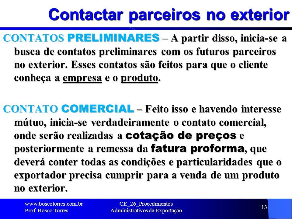 Contactar parceiros no exterior