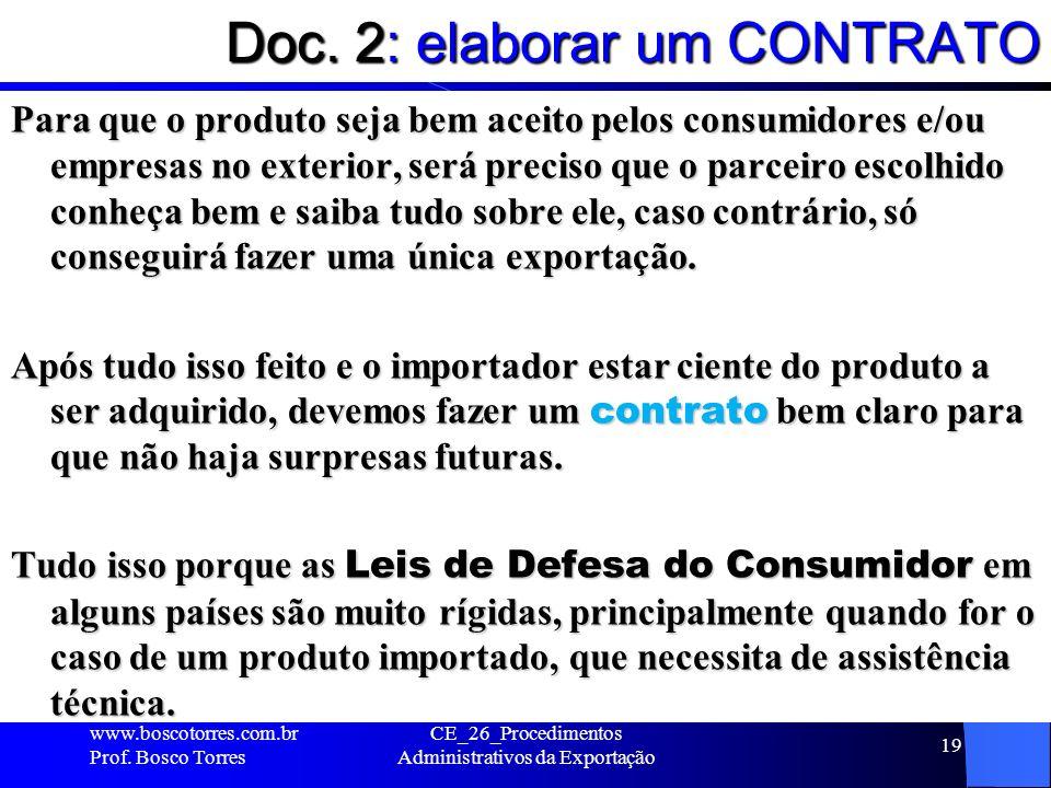 Doc. 2: elaborar um CONTRATO