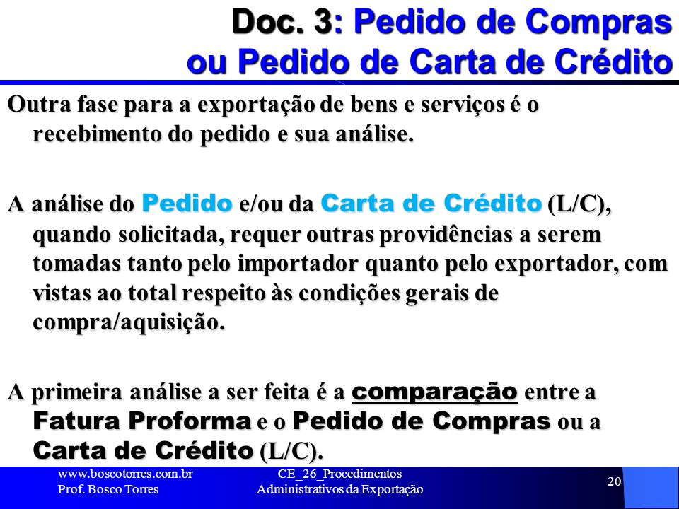 Doc. 3: Pedido de Compras ou Pedido de Carta de Crédito