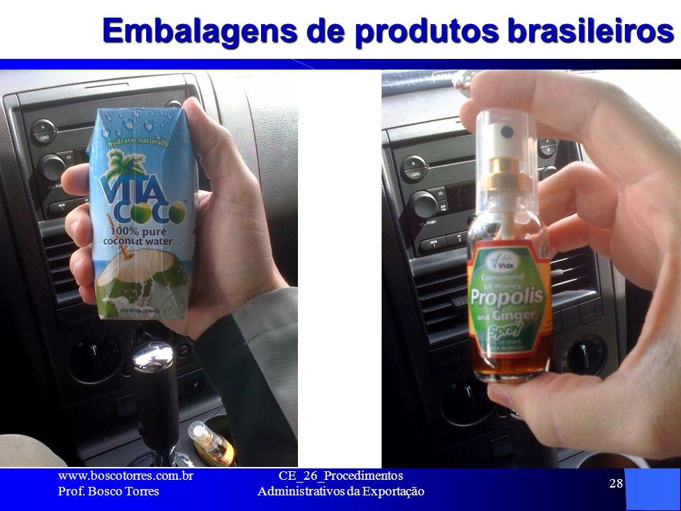 Embalagens de produtos brasileiros