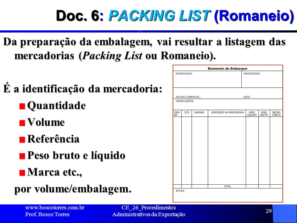 Doc. 6: PACKING LIST (Romaneio)