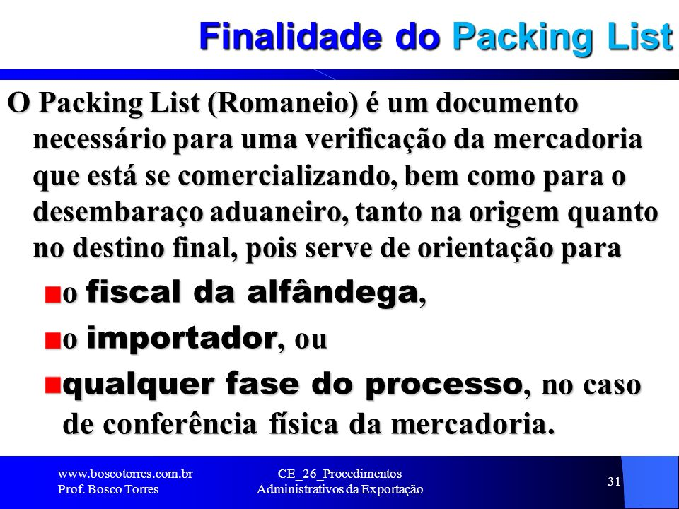 Finalidade do Packing List