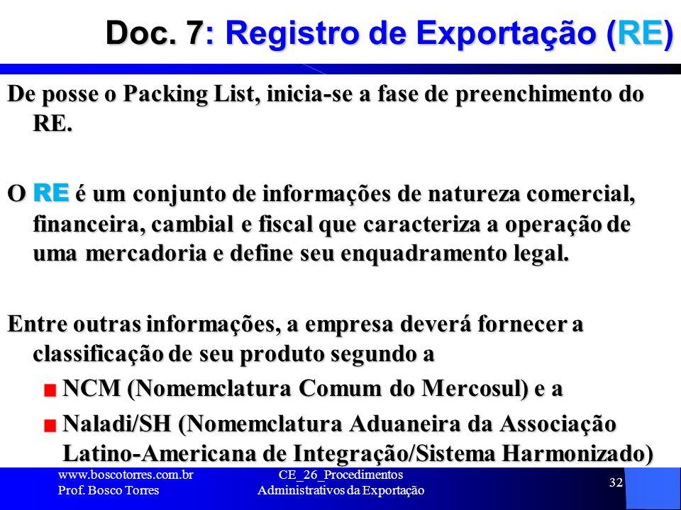 Doc. 7: Registro de Exportação (RE)