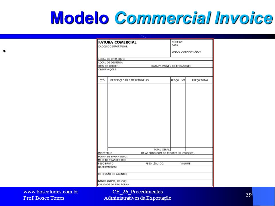 Modelo Commercial Invoice