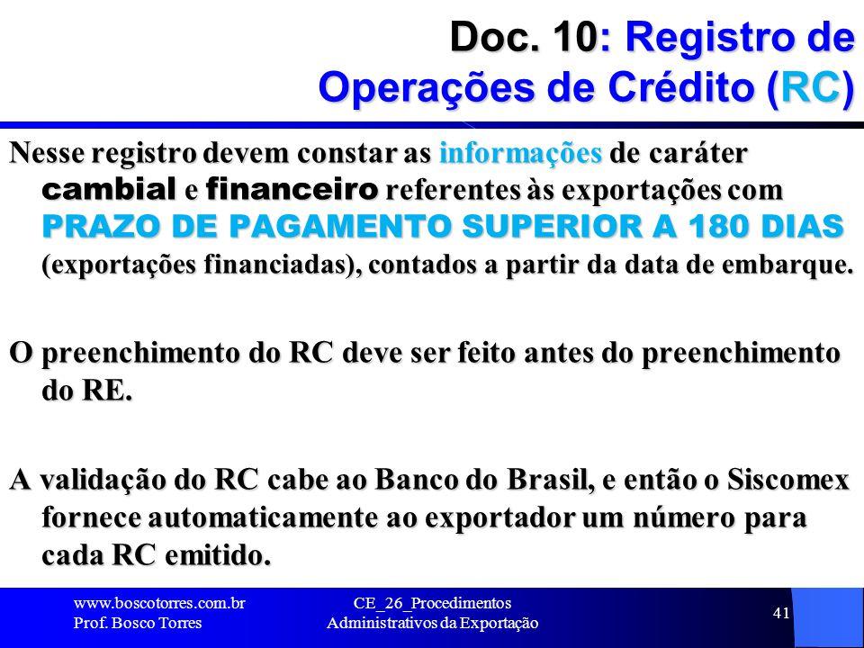Doc. 10: Registro de Operações de Crédito (RC)