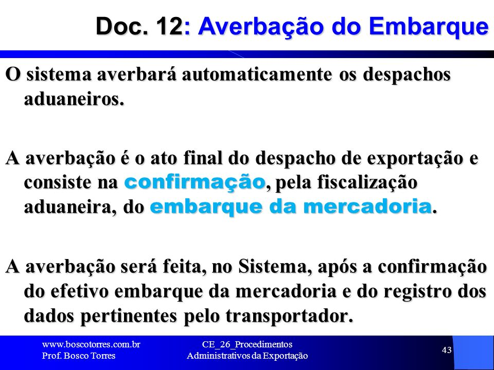 Doc. 12: Averbação do Embarque