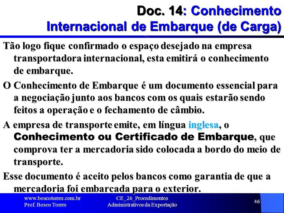 Doc. 14: Conhecimento Internacional de Embarque (de Carga)