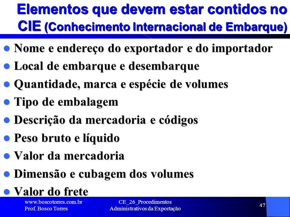 CE_26_Procedimentos Administrativos da Exportação