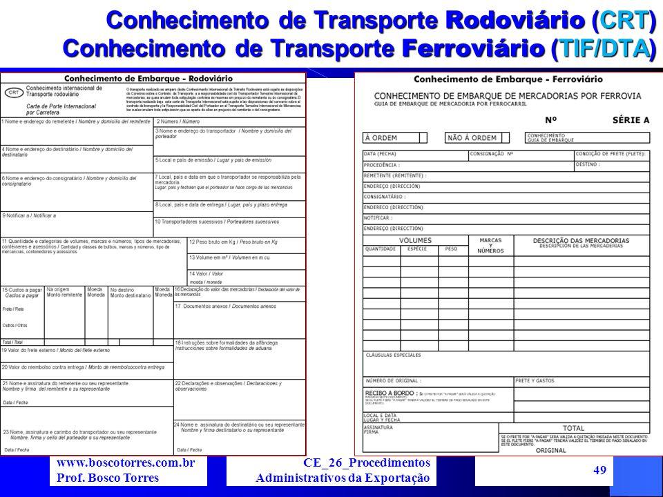 Conhecimento de Transporte Rodoviário (CRT) Conhecimento de Transporte Ferroviário (TIF/DTA)