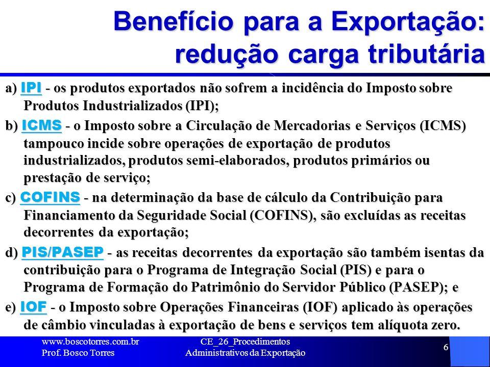Benefício para a Exportação: redução carga tributária