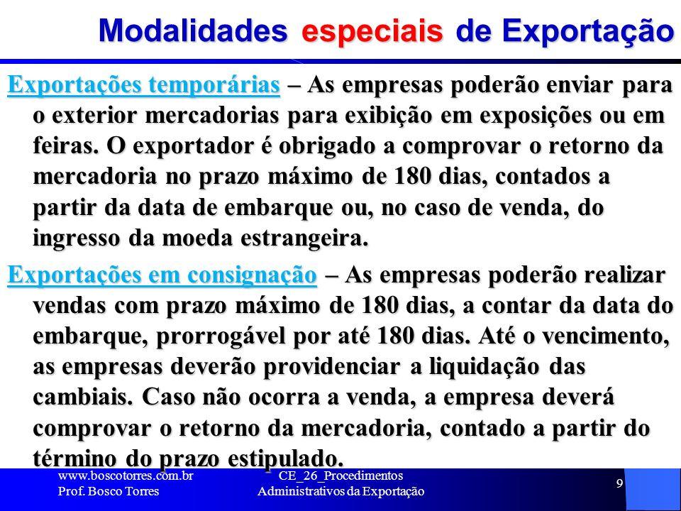 Modalidades especiais de Exportação