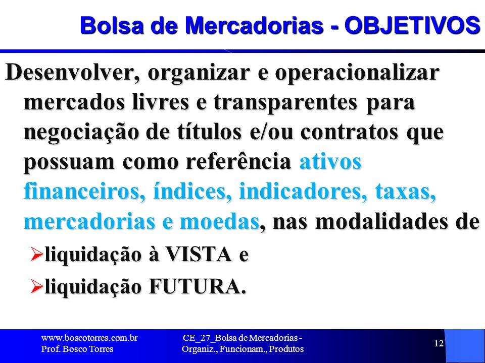 Bolsa de Mercadorias - OBJETIVOS