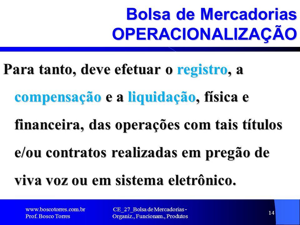 Bolsa de Mercadorias OPERACIONALIZAÇÃO