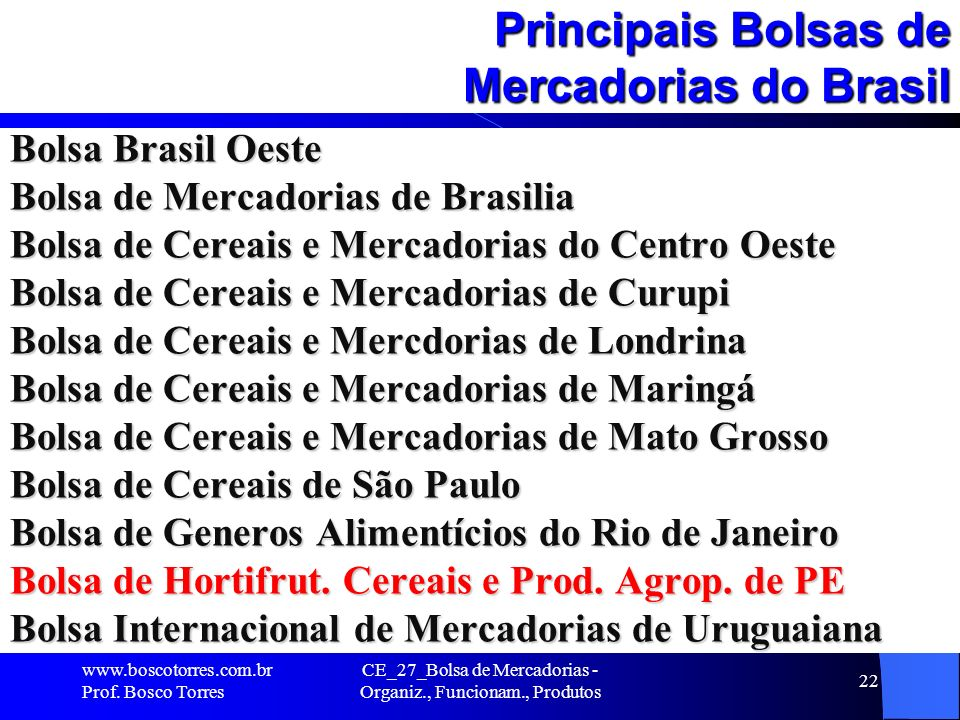 Principais Bolsas de Mercadorias do Brasil