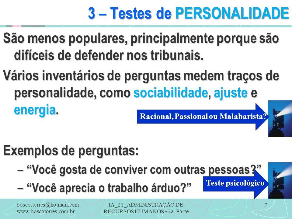 3 – Testes de PERSONALIDADE
