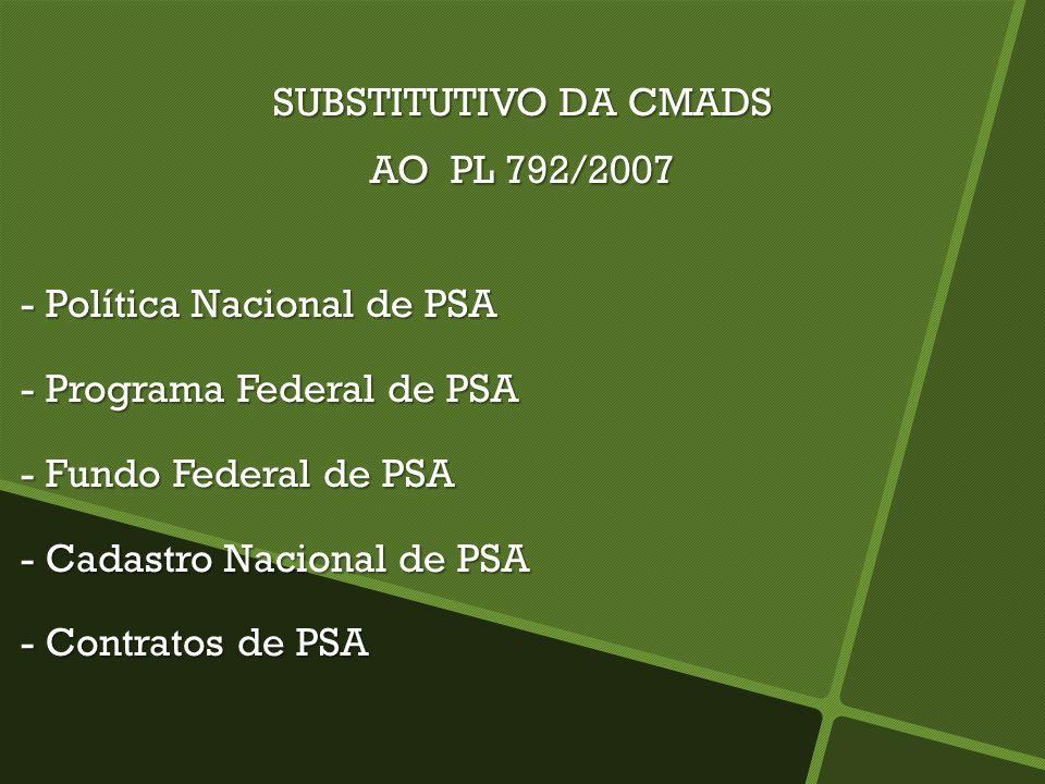 SUBSTITUTIVO DA CMADSAO PL 792/2007. - Política Nacional de PSA. - Programa Federal de PSA. - Fundo Federal de PSA.
