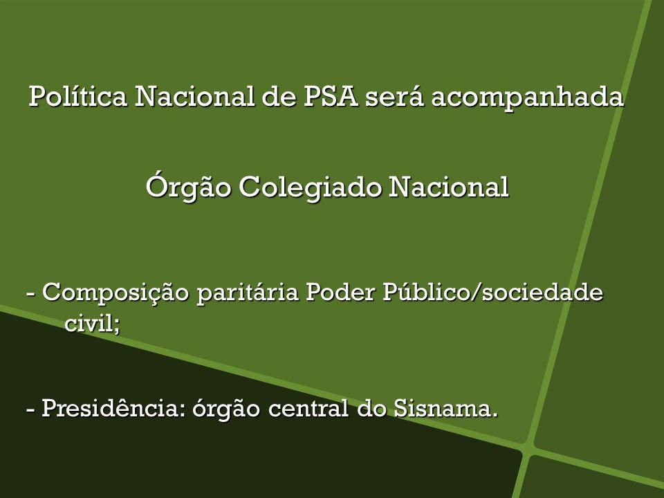 Política Nacional de PSA será acompanhada