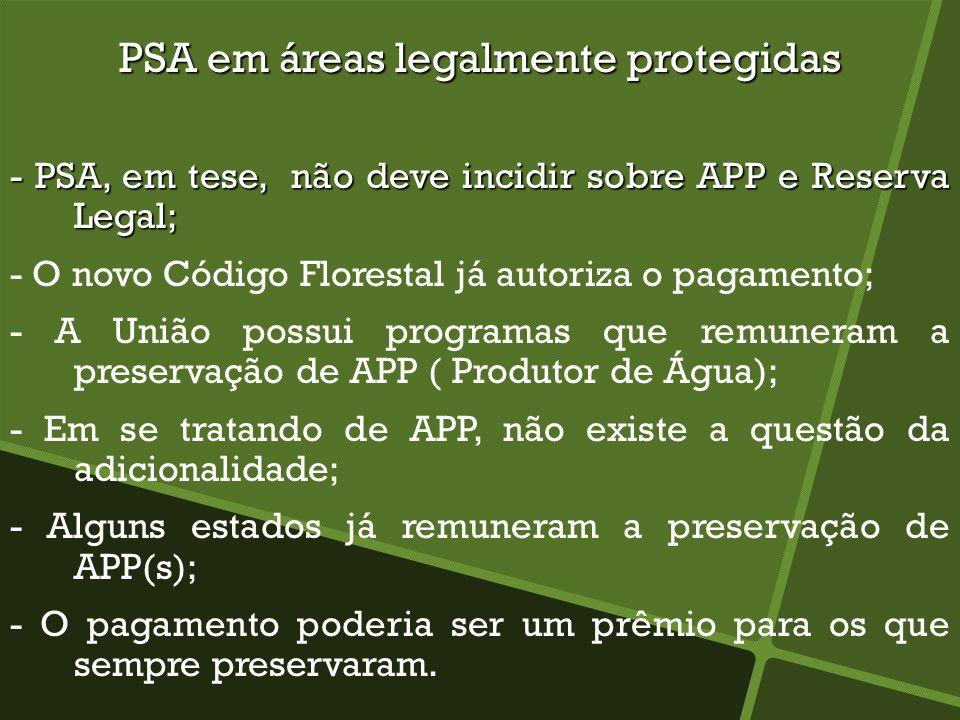 PSA em áreas legalmente protegidas