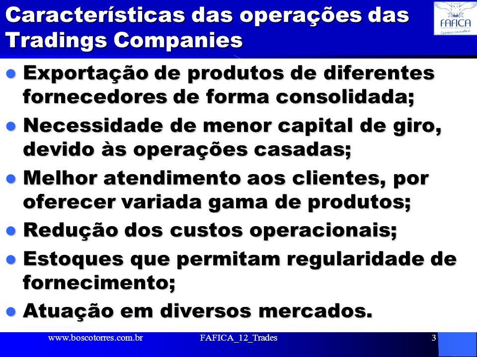 Características das operações das Tradings Companies