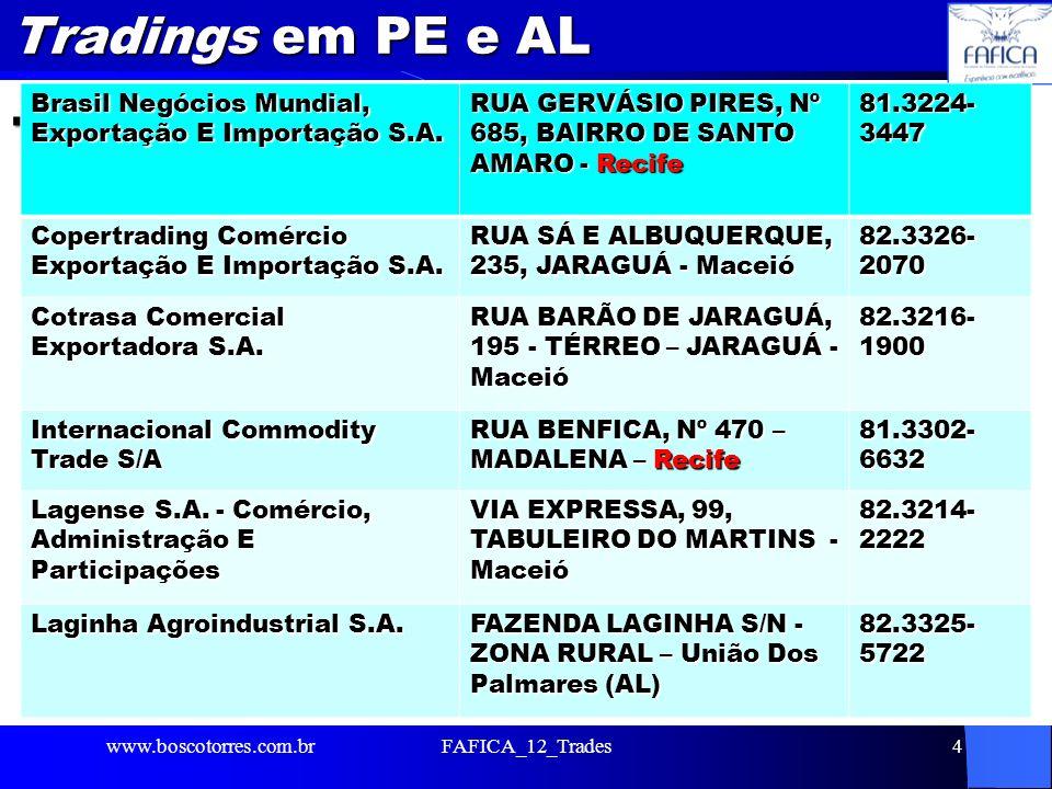 Tradings em PE e AL. Brasil Negócios Mundial, Exportação E Importação S.A. RUA GERVÁSIO PIRES, Nº 685, BAIRRO DE SANTO AMARO - Recife.
