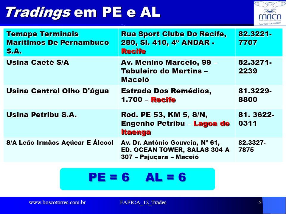 Tradings em PE e AL PE = 6 AL = 6