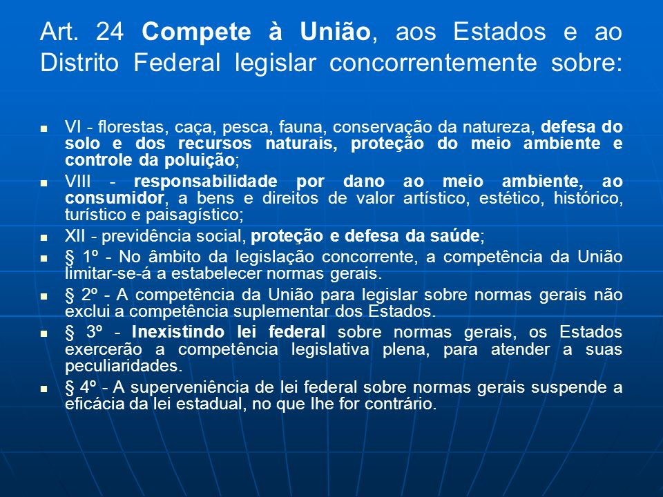 Art. 24 Compete à União, aos Estados e ao Distrito Federal legislar concorrentemente sobre: