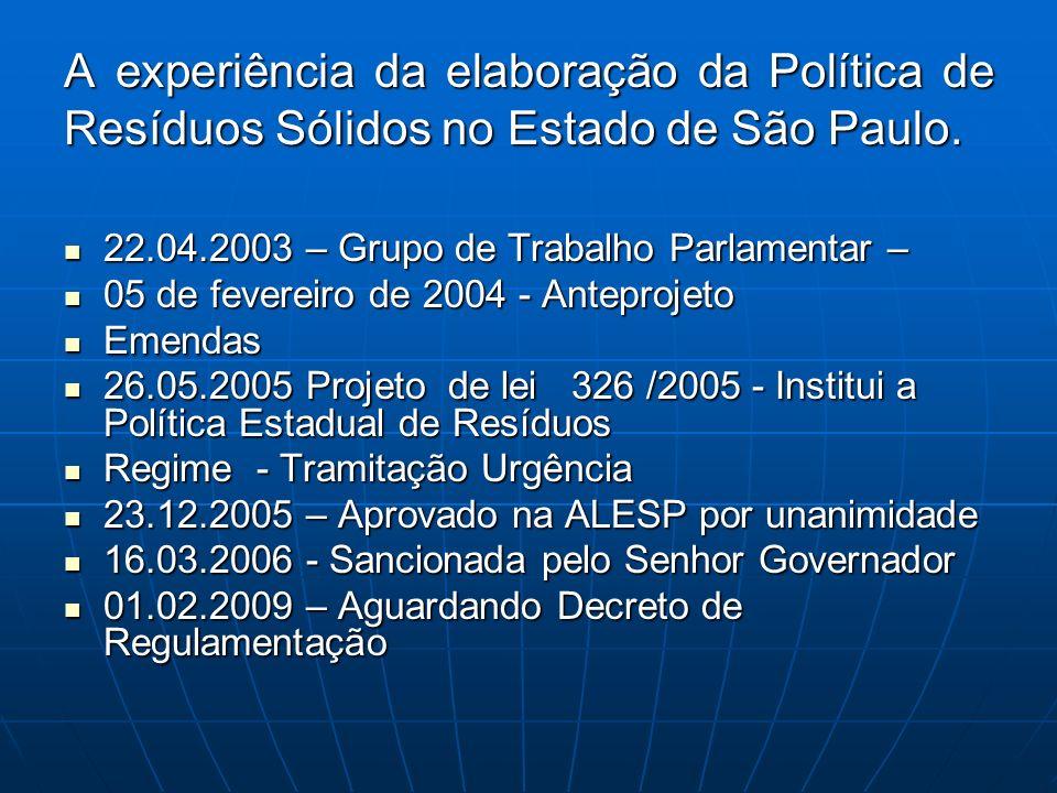 A experiência da elaboração da Política de Resíduos Sólidos no Estado de São Paulo.