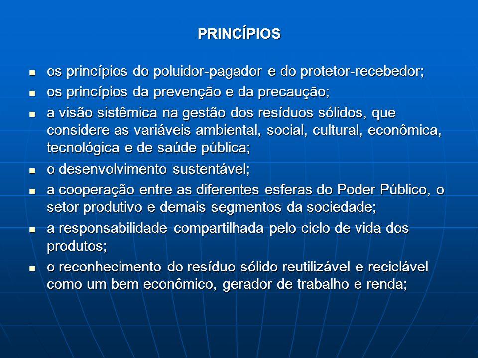 PRINCÍPIOS os princípios do poluidor-pagador e do protetor-recebedor; os princípios da prevenção e da precaução;