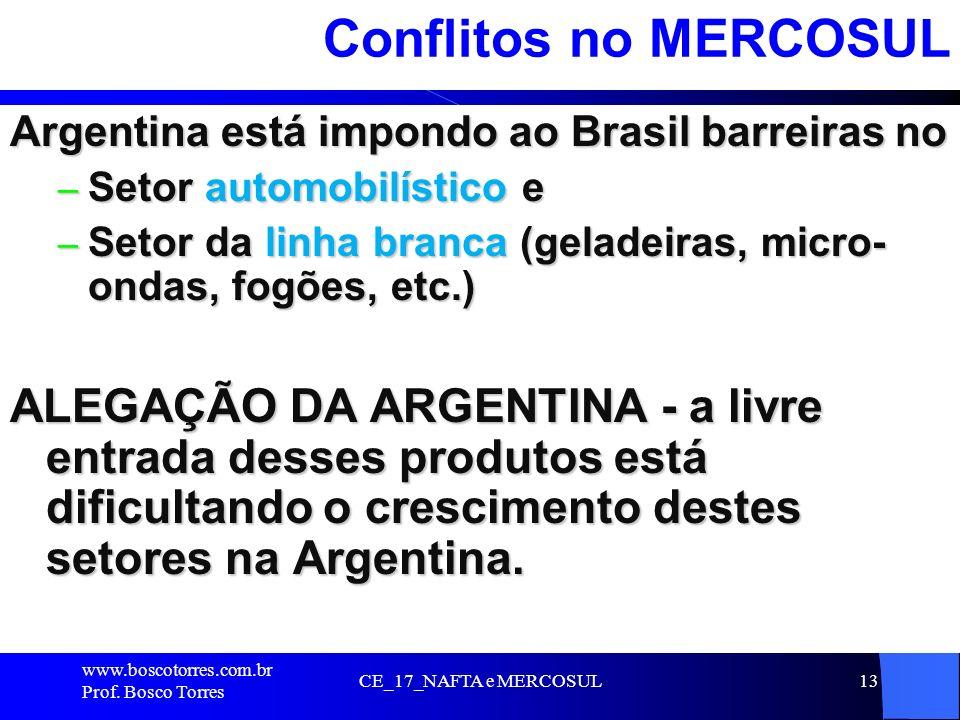 Conflitos no MERCOSUL Argentina está impondo ao Brasil barreiras no. Setor automobilístico e.