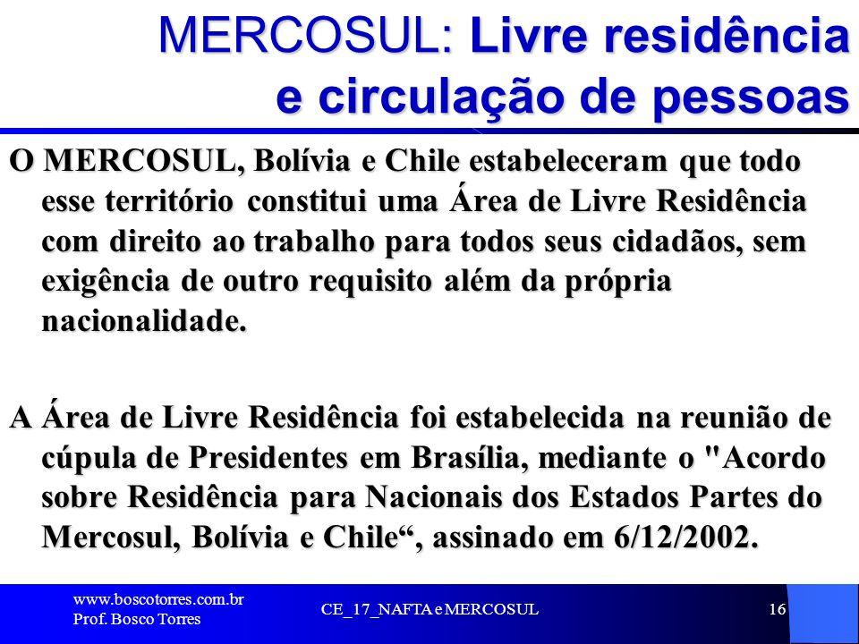 MERCOSUL: Livre residência e circulação de pessoas