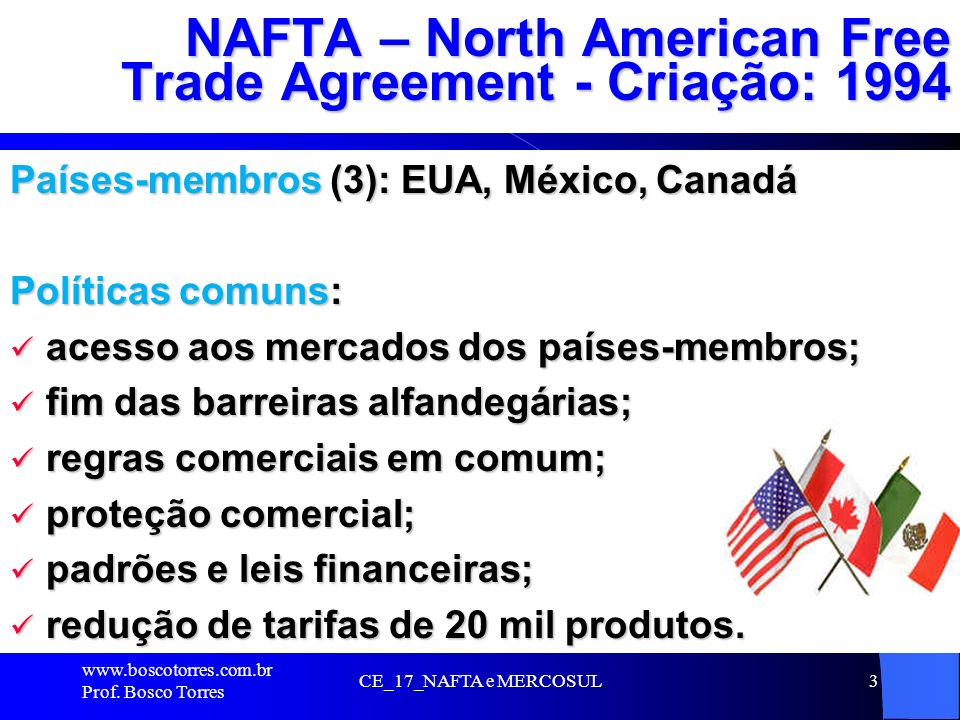 NAFTA – North American Free Trade Agreement - Criação: 1994