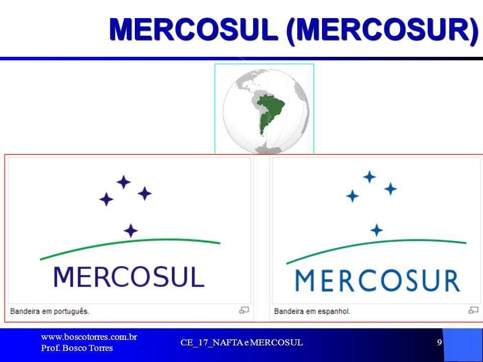 MERCOSUL (MERCOSUR) . www.boscotorres.com.br Prof. Bosco Torres