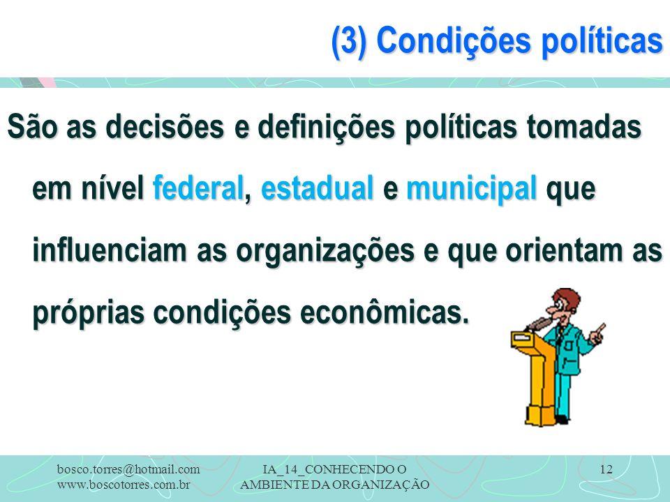 (3) Condições políticas