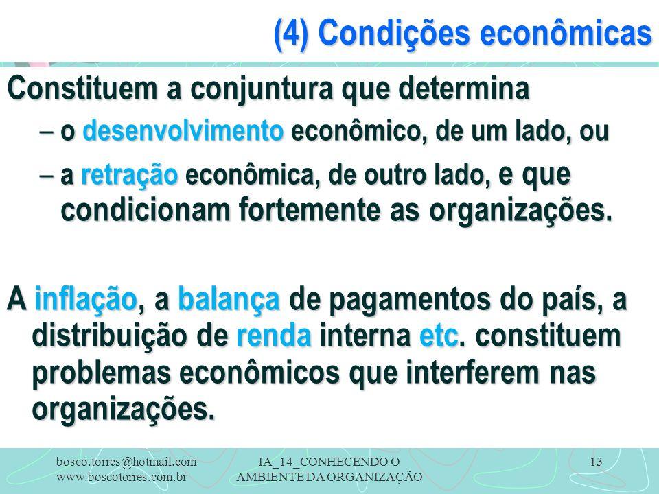 (4) Condições econômicas